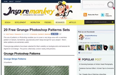 http://www.inspiremonkey.com/2011/05/20-free-grunge-photoshop-patterns-sets/