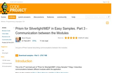 http://www.codeproject.com/Articles/159887/Prism-for-Silverlight-MEF-in-Easy-Samples-Part-3-C
