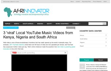 http://afrinnovator.com/blog/2011/09/28/3-viral-local-youtube-music-videos-from-kenya-nigeria-and-south-africa/