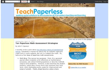 http://teachpaperless.blogspot.com/2011/04/ten-paperless-math-assessment.html