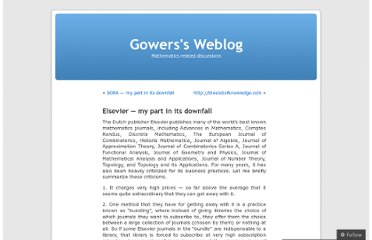 http://gowers.wordpress.com/2012/01/21/elsevier-my-part-in-its-downfall/