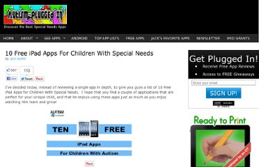 http://www.autismpluggedin.com/2011/09/10-free-ipad-apps-for-children-with-special-needs.html