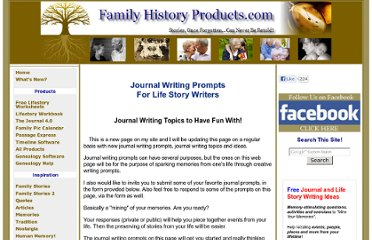 http://www.familyhistoryproducts.com/journal-writing-prompts.html