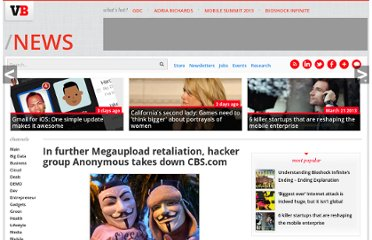 http://venturebeat.com/2012/01/22/megaupload-retaliation-anonymous-takes-down-cbs/