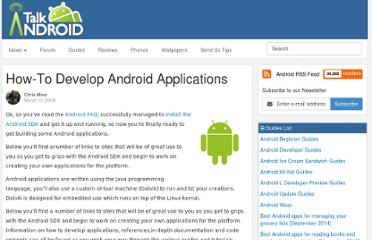 http://www.talkandroid.com/guides/developer/google-android-application-guide/#.Txyac6N5mSM