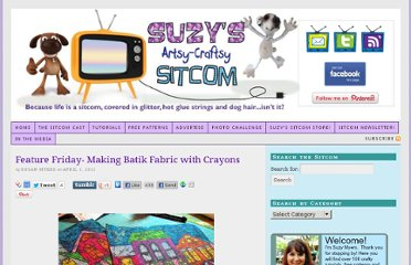 http://suzyssitcom.com/2011/04/feature-friday-making-batik-fabric-with-crayons.html