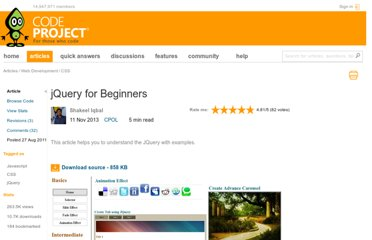 http://www.codeproject.com/Articles/246701/JQuery-for-Beginners