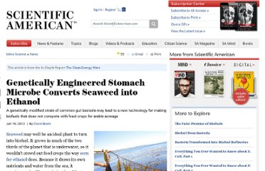 http://www.scientificamerican.com/article.cfm?id=genetically-engineered-stomach-microbe-turns-seaweed-into-ethanol