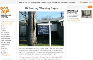 http://www.apartmenttherapy.com/10-renting-warning-signs-153123