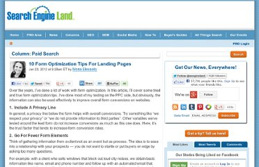 http://searchengineland.com/10-form-optimization-tips-for-landing-pages-108307