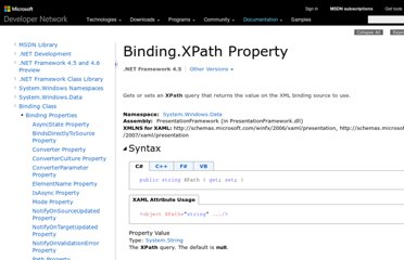 http://msdn.microsoft.com/en-us/library/system.windows.data.binding.xpath.aspx