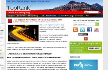 http://www.toprankblog.com/2010/02/small-business-seo-advantages/