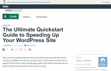 http://wp.tutsplus.com/tutorials/the-ultimate-quickstart-guide-to-speeding-up-your-wordpress-site/