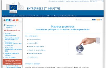 http://ec.europa.eu/enterprise/policies/raw-materials/public-consultation/index_fr.htm
