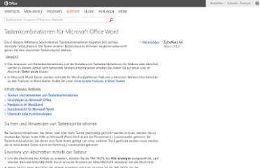 http://office.microsoft.com/de-ch/word-help/tastenkombinationen-fur-microsoft-office-word-HP010370109.aspx