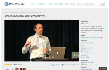 http://wordpress.tv/2010/05/01/stephan-spencer-seo-wordpress-sf10/