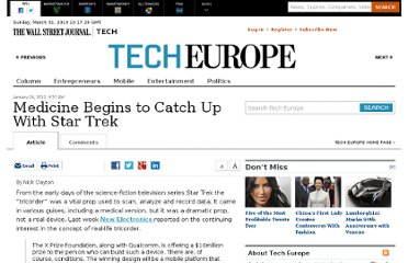 http://blogs.wsj.com/tech-europe/2012/01/24/medicine-begins-to-catch-up-with-star-trek/
