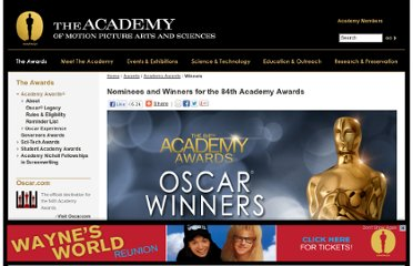 http://www.oscars.org/awards/academyawards/84/nominees.html