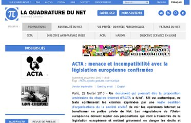 http://www.laquadrature.net/fr/acta-menace-et-incompatibilite-avec-la-legislation-europeenne-confirmees