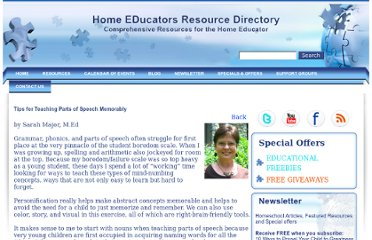 http://www.homeeddirectory.com/blog/tips-teaching-parts-speech-memorably