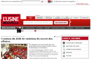 http://www.usinenouvelle.com/article/creation-du-delit-de-violation-du-secret-des-affaires.N167180