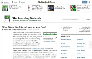 http://learning.blogs.nytimes.com/2012/01/24/what-would-you-like-to-learn-on-your-own/