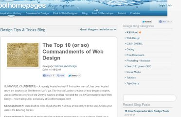 http://coolhomepages.com/The-Top-10-or-so-Commandments-of-Web-Design/blog-9.html