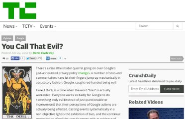 http://techcrunch.com/2012/01/24/you-call-that-evil/