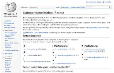 http://de.wikipedia.org/wiki/Kategorie:Institution_(Recht)