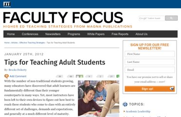 http://www.facultyfocus.com/articles/effective-teaching-strategies/tips-for-teaching-adult-students/