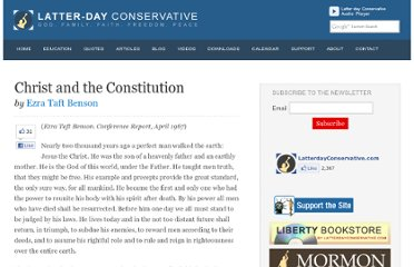 http://www.latterdayconservative.com/ezra-taft-benson/christ-and-the-constitution/