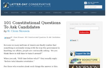 http://www.latterdayconservative.com/articles/101-constitutional-questions-to-ask-candidates/