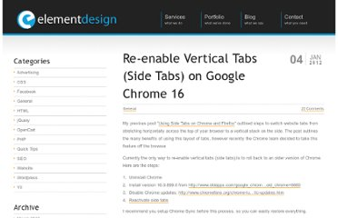 http://elementdesignllc.com/2012/01/re-enable-vertical-tabs-on-google-chrome-16/