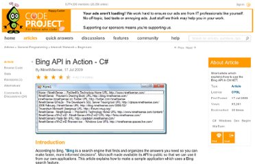 http://www.codeproject.com/Articles/38249/Bing-API-in-Action-C
