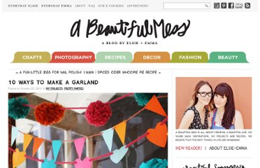 http://abeautifulmess.typepad.com/my_weblog/2011/10/10-ways-to-make-a-garland.html