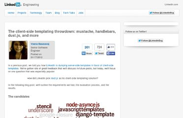 http://engineering.linkedin.com/frontend/client-side-templating-throwdown-mustache-handlebars-dustjs-and-more