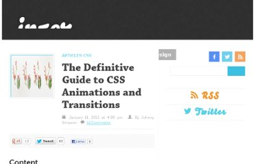 http://www.inserthtml.com/2012/01/definitive-guide-css-animations-transitions/