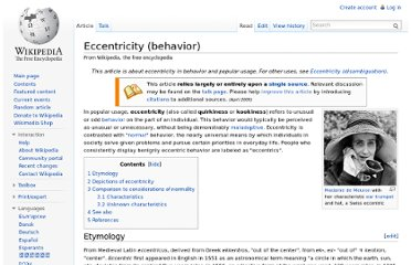 http://en.wikipedia.org/wiki/Eccentricity_(behavior)
