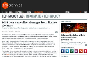 http://arstechnica.com/open-source/news/2010/02/ruling-foss-devs-can-collect-damages-from-license-violators.ars