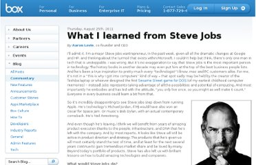http://blog.box.com/2011/08/what-i-learned-from-steve-jobs/
