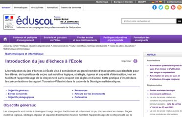 http://eduscol.education.fr/cid59084/introduction-du-jeu-d-echecs-a-l-ecole.html
