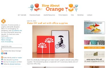 http://howaboutorange.blogspot.com/2011/06/make-diy-wall-art-with-office-supplies.html