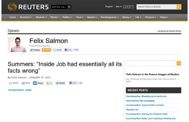 http://blogs.reuters.com/felix-salmon/2012/01/27/summers-inside-job-had-essentially-all-its-facts-wrong/