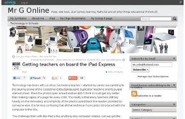 http://mgleeson.edublogs.org/2012/01/28/getting-teachers-on-board-the-ipad-express/