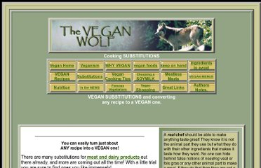 http://www.veganwolf.com/vegan_cooking_substitutions.htm