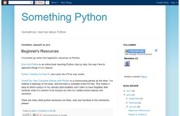 http://somethingpython.blogspot.com/2012/01/beginners-resources.html