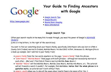 http://www.barbsnow.net/GoogleGenealogy.htm