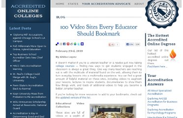 http://www.accreditedonlinecolleges.com/blog/2010/100-video-sites-every-educator-should-bookmark/