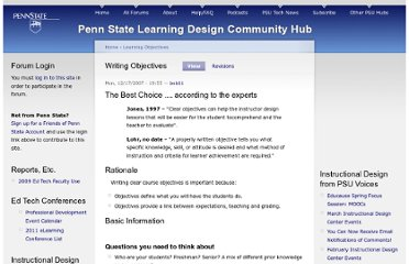 http://ets.tlt.psu.edu/learningdesign/objectives/writingobjectives