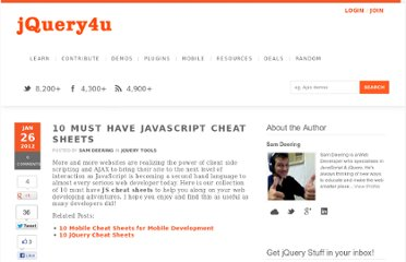 http://www.jquery4u.com/tools/10-javascript-cheat-sheets/